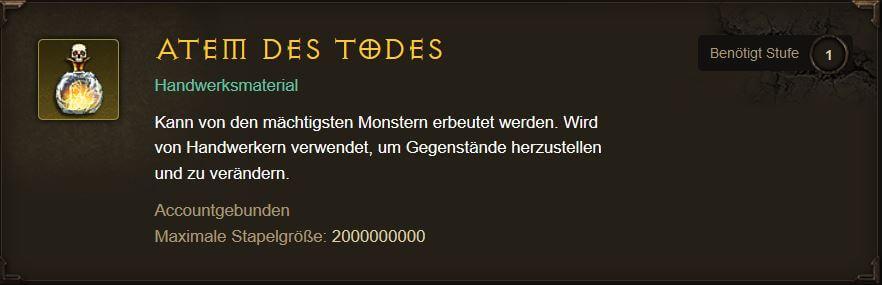 Diablo 3 Atem des Todes farmen - Tooltip